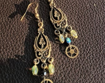Steampunk bronze and green earrings