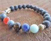 Solar System Diffuser Bracelet, Lava Bracelet, Planets Bracelet, Astronomy Bracelet, Yoga Bracelet, Wrist Mala, Buddhist Bracelet