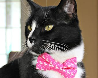 Bow Tie for Cat, Dog Bow Tie, Collar Accessory, Collar Not Included, Pet Bowtie, Made in Canada, Hot Pink, Flamingo, Birds, Tropical, Summer