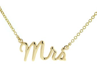 """Mrs. Necklace, 1 Inch Wide, 18"""" Inch Chain in 14K Yellow Gold"""
