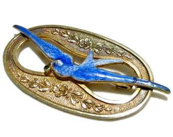 Vintage Edwardian Sash Pin Brooch  With Guilloche Enamel Blue Bird Swallow Framed In Copper