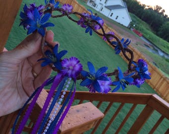 purple and blue hippie festival dance costume Renaissance wedding party grapevine halo crown with pearl beads and ribbon streamers