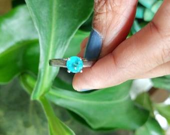 Super Bright Blue Green Apatite Silver ring