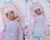 Slim MSD Minifee or SD BJD Hoodie Sweater - Unicorn Daydreams