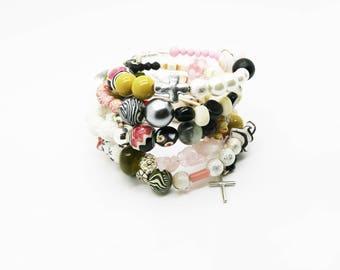 Boho Christian/Catholic Stacked Bracelet--Inspirational--Cuff--Stacked--Hippie--Gypsy--Cross--Trending--Eco Friendly--Multi-Strand--Vintage