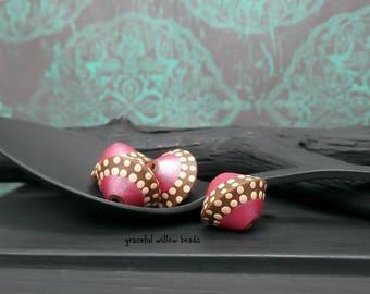Pink Brown Light Mocha Polka Dot Polymer Bicone Bead - Moroccan Style Bohemian Bead - 13mm - Pkg. 4