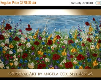 SALE Original Modern Handpainted  Wild  Flowers  Acrylic Impasto Palette Knife  Floral    Painting. Made2Order. Size 48 x 24..