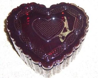 Avon Ruby Red CAPE COD 1876 Heart TRINKET or Dresser Box