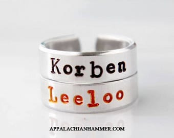 Korben or Leeloo Hand Stamped Adjustable Rings, The Fifth Element Inspired
