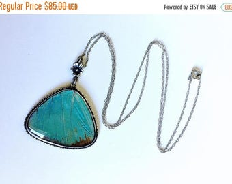 BDAY BONANZA SALE Antique 1920's Art Deco Morpho butterfly wing pendant Sterling Silver