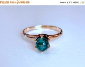 BDAY BONANZA SALE Antique Edwardian green Moss agate and 10k rose gold engagemet ring