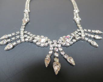 Tear Drop Shaped Rhinestone Necklace