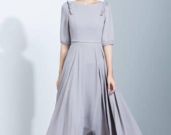 Gray Chiffon Dress,Elbow Length Sleeves Dress,Flare Dress,Pleated Dress,Long Dress,Summer Dress,Women's Dress C1137