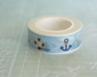 Masking tape marine, whale, sea, summer, holidays 15mm x 10m