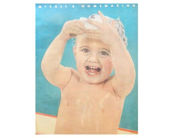 Baby Bath Wall Art - Vintage McCall's Magazine Illustration - Nursery or Bathroom Decor