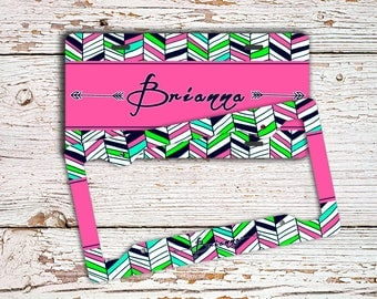 Monogram car license plate or frame, Personalized auto tag, Chevron car accessories Cute bicycle license plate Pink navy green aztec  (1427)
