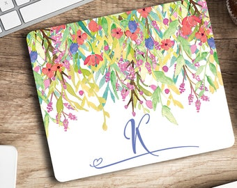 Personalized Mouse pad Pretty floral watercolor mouse mat Office decor Cubicle decor Rectangular mousepad Gift for her Choose your letter