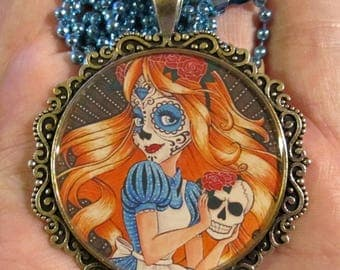 Sugar Skull Alice Necklace-Wonderland Alice Jewelry-Handmade Resin Pendant Jewelry