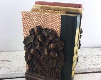 Vintage Composite Acorn Bookends