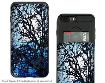 Blue Tree Silhouette iPhone 7 Plus Card Holder Case with Artwork - Moonlit Night - Credit Card iPhone 7 Plus Wallet Case with Rubber Sides