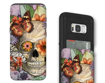 Butterfly Sugar Skull Galaxy S8 Card holder Case - Dia De Los Muertos Art - Credit Card Case for Samsung Galaxy S8 with Rubber Sides