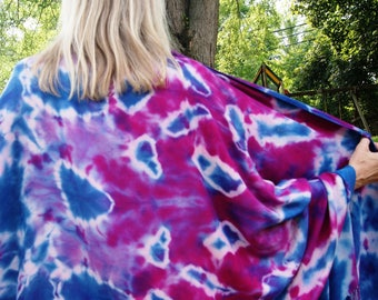 NEW! Beautiful Tie Dye Pashmina Shawl/Scarf, Fringed Tie Dye Shawl in Cranberry, Purple, Blue and Pink, Boho Pashmina Scarf, Viscose Scarf