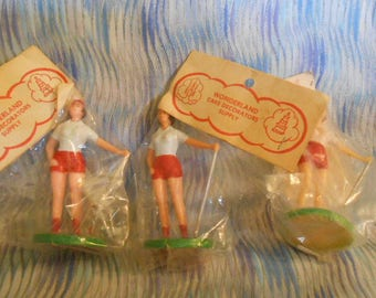 Three Sealed Vintage Lady Golfer Cake Toppers