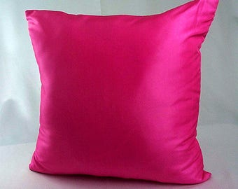 Pink throw pillow, Fuschia pillow, Solid pink pillow cover, Decorative pillows, Cushion covers, Home decor sofa couch, Shiny pillows living