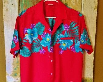 ON SALE Kalena Fashions - Men's Vintage 70's Hawaiian Shirt, Kalena Fashions Hawaii, Hibiscus Floral Shirt - Size Large