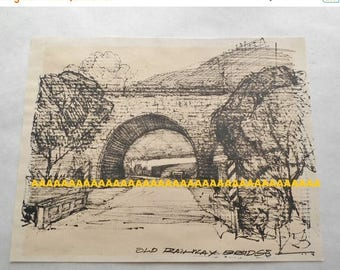 ON SALE Vintage B.Hodgins Black Ink Drawing Print on Paper Old Railway Bridge, Signed, Art, Wall Hanging