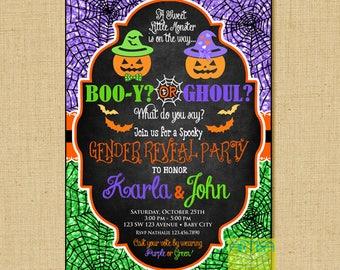 Halloween Gender reveal party invitation, halloween gender reveal invitation, halloween gender reveal party invitation, halloween invitation