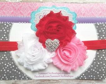Baby Headband, Infant Headband, Newborn Headband, Red, Pink, and White Headband, Valentine Headband