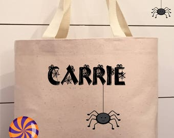 Personalized Halloween Trick or Treat Candy Tote Bag Spooky Spider - 8.5 x 11 x 3 Medium Size Canvas Tote