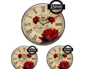 Set 25MM-20mm GLASS, 3 Glass Cabochons Ref 855clock