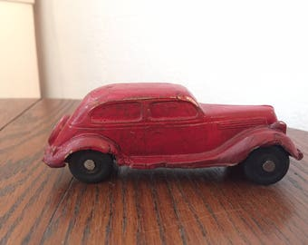 Vintage 1930s Ford Red Sedan Rubber Toy Car / Sieberling Company Akron Ohio