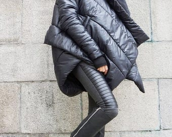 SALE NEW Winter Extra Warm Asymmetric Extravagant Black Hooded Coat / Waterproof Windproof Quilted with Side Pockets   by Aakasha A07550