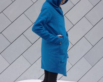 NEW Extra Warm Qilted Winter Asymmetric Extravagant Blue/ Teal  Hooded Coat/ Wool/Cashmere Blend/ Double Zipper/Large Pocket Coat A07337