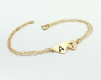 Sister bracelet, Best friends bracelet, double heart bracelet, monogram bracelet. Sister, mother bracelet., gift for her
