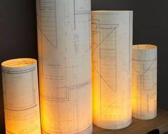 Blueprint Luminaries, Architect Decor, Blueprints, Architect Party, Architect Wedding, Housewarming, Architect Graduation