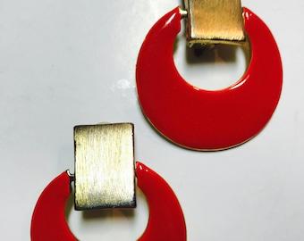 Cherry red enameled huge clip earrings