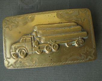 Vintage Logger Truck Brass Belt Buckle, 1950's Brass Belt Buckle, Vintage Brass Belt Buckle