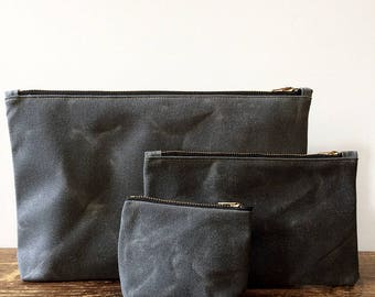 Waxed Canvas Pouch Set, The Trio