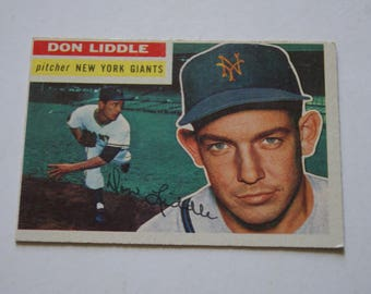 1956 TOPPS Baseball Card Don Liddle Pitcher New York Giants Card Number 325
