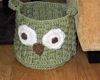 Owl Storage Home Decor Basket for Magazines, Kids Toys, Bath Items, Spa Basket Baby Shower gift Crocheted Sage Green Sturdy Useful