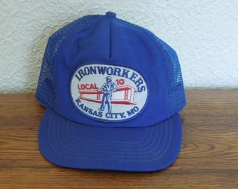Vintage Trucker Snapback Hat- Ironworkers Local 10- Blue
