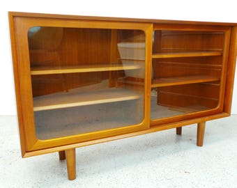 mid century Danish modern teak long display bookcase display shelf cabinet