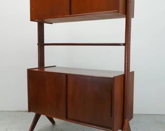 FREE SHIPPING mid century Danish modern teak floating wall unit display room divider bookcase with slide doors