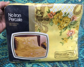 70's JC Penney Yellow Floral TWIN Size FLAT Sheet  // Sealed New in Package