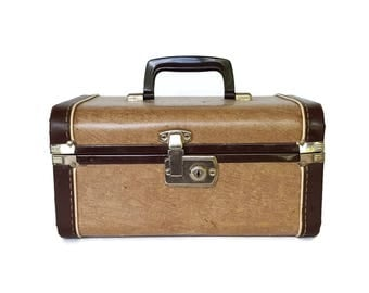 Vintage Brown Train Case 50s 60s Suitcase Luggage Retro Travel Burlesque Pin Up Case Small Makeup Cosmetic Shabby Valise
