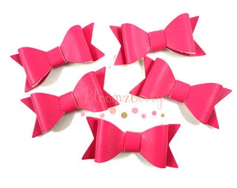 "5 pcs set 2.5"" Faux Leather Bow - Hot Pink Color- Pink Faux Bows - Birthday/Crafts Project -  No Clip Attach - Hair Accessories Supplies"